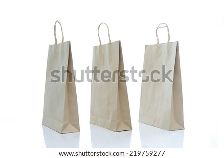 mulburry paper bag on white background isolated