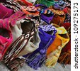 Multi-colored colombian bags on a market stall in Cartagena, Colombia - stock photo