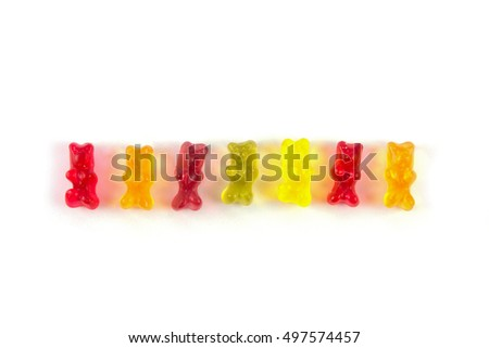 Multi-colored jelly bears isolated on white background