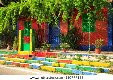 Multi-coloured house on the Ionian island of Kefalonia Greece