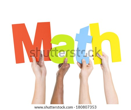 Multi Ethnic People Holding Word Math Stock Photo 180807353 ...