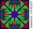 Multicolor beautiful fractal flower. Computer generated graphics. - stock