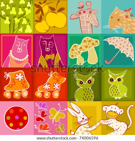 scrapbook elements cute tags stickers stock vector