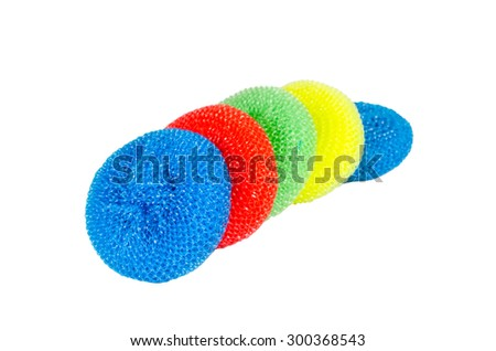 multicolor sponge scrub isolated on white background