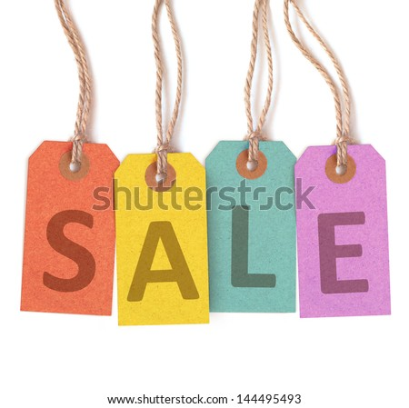 "Multicolor tags lettering ""sale"" isolated on white background"