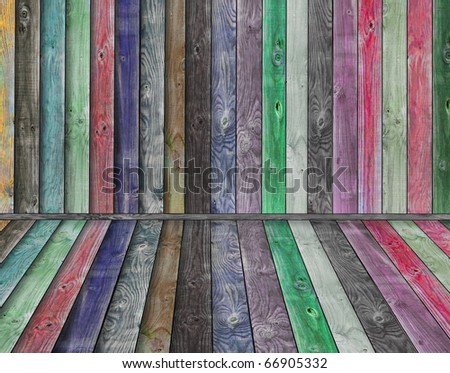 Multicolor wooden interior