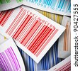 multicolored bar codes background square image - stock photo