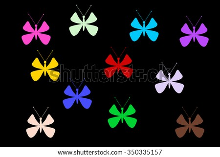 Multicolored butterflies on a black background. Isolated butterfly. Template, blank, bright, colorful.
