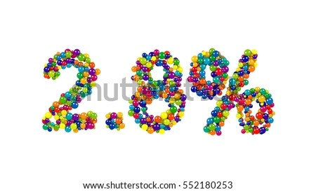 Multicolored candy sweets in shape of 2.8 percent on white background