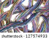 Multicolored computer cables isolated on white background - stock photo