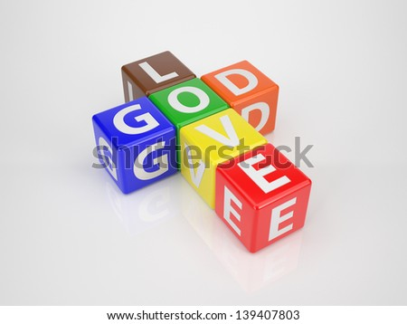 Multicolored Dices in Form of a Christian Cross with the Words God Love