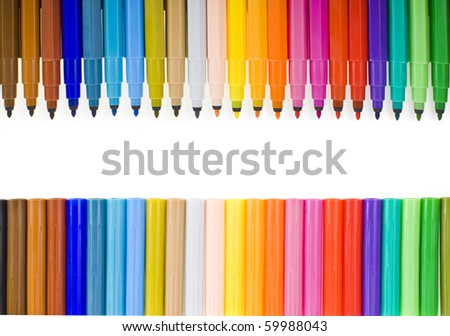 Multicolored felt pens isolated on white