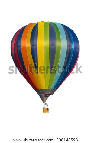multicolored hot air balloon isolated on white background