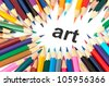 Multicolored pencils isolated on white background love art - stock photo