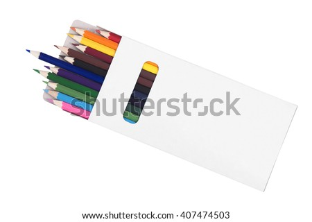 Multicolored pensils in box isolated on white background