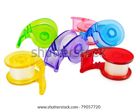 Multicolored Scotch tape collection over white