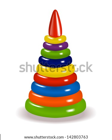 multicolored shiny toy pyramid with shadow on white background