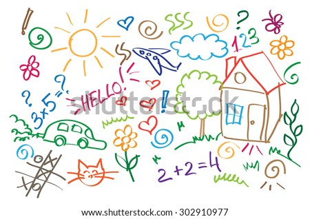 multicolored symbols children drawing style