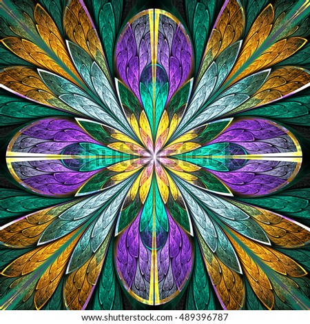 Multicolored symmetrical fractal flower in stained-glass window style. You can use it for invitations, notebook covers, phone cases, postcards, cards, wallpapers and so on. Artwork for creative design