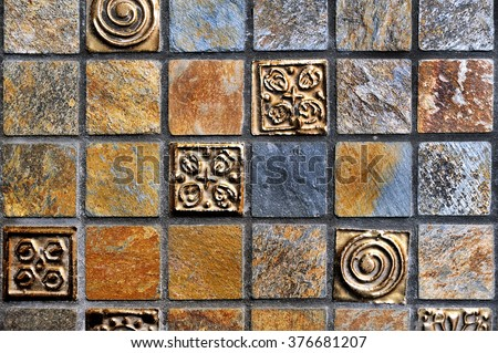 Broken tiles mosaic floor or wall background texture stock photo - Colorful Vintage Ceramic Tiles Wall Decorationdigital