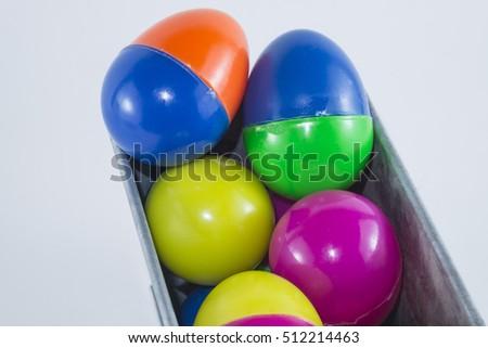 Multicolour Easter Eggs Plasticwhite Background