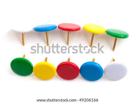 MULTICOLOURED PUSH PINS  on a white background