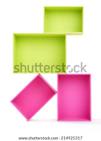 Multicoloured rectangular boxes isolated on white