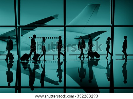 Multiethnic Group of Business People with Airplane Concept