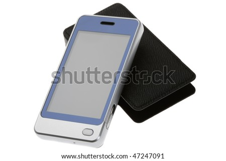 Multitouch smartphone with leather cover isolated on white
