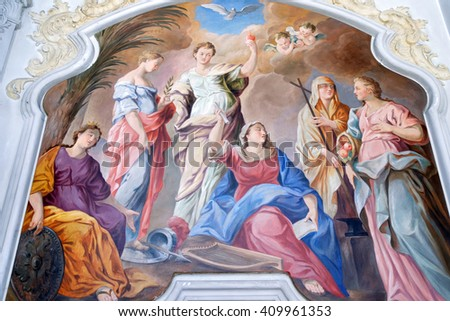 MUNICH, GERMANY - AUGUST 3, 2015: Interior fresco of Heilig-Geist-Kirche, a Gothic hall church with rococo flair.