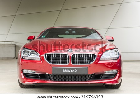 MUNICH, GERMANY - AUGUST 9, 2014: New modern model of BMW 640i first class exclusive business sedan car.