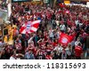 MUNICH, GERMANY - MAY 19: FC Bayern Muenchen supporters arriving on train station for UEFA Champions League Final between FC Bayern Muenchen and Chelsea FC on May 19, 2012 in Munich, Germany - stock photo