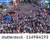 "MUNICH, GERMANY - OCT 3: panorama view over the world biggest beer festival ""Oktoberfest in Munich"" on October 3, 2012 in Munich, Germany - stock photo"