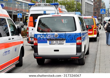 MUNICH - SEP 07: German federal police cars in Munich on September 07. 2015 in Germany