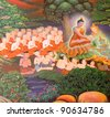 Mural Buddhist religion in the temple. - stock