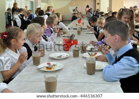 Murmansk, Russia - September 11, 2013, Children dine in the dining room