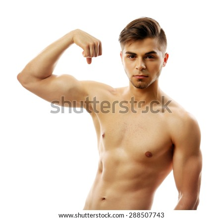 Muscle young man isolated on white