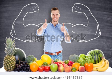 Muscular Businessman with healthy food