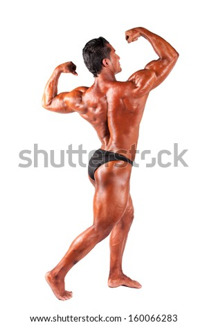 Muscular man on a white background