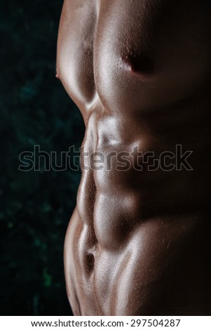 Muscular young athletic sexy man posing shirtless
