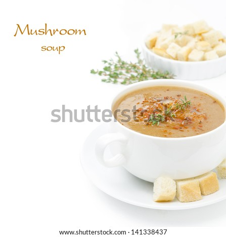 Mushroom cream soup with croutons and thyme isolated on white background and space for text