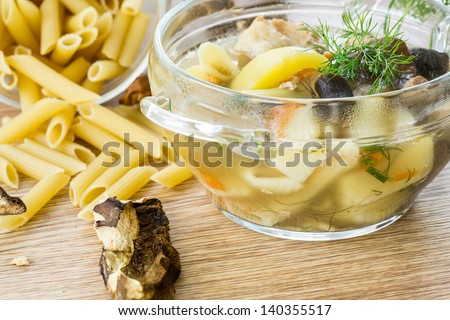mushroom soup with noodles in a plate