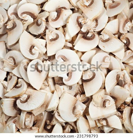 Mushrooms sliced for frying.
