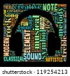 Music and sound info-colorful text graphic and arrangement concept composed in headphone shape on black background (word cloud) - stock