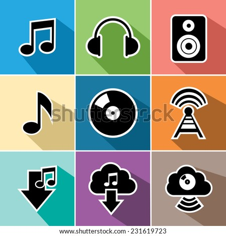 Music and sound set of flat icons design. Can be used for website and mobile app
