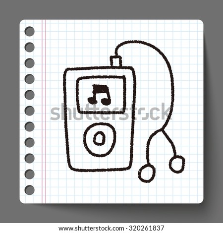 music player doodle drawing