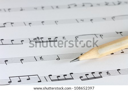 music sheet with pencil