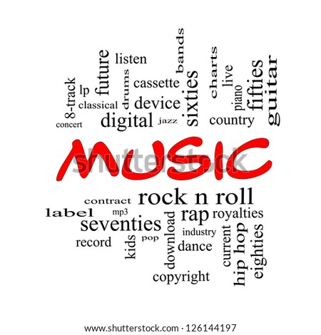 Music Word Cloud Concept in red caps with great terms such as rock n ...