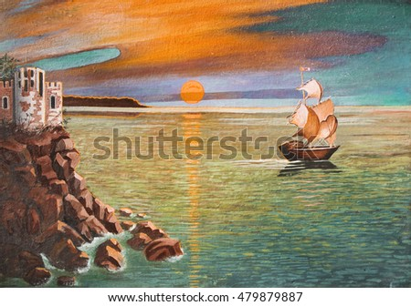 My own picture, oil painting. Sea landscape with sailing ship and castle on rock, sunset.