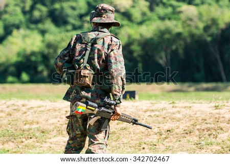 myanmar  soldier with rifle